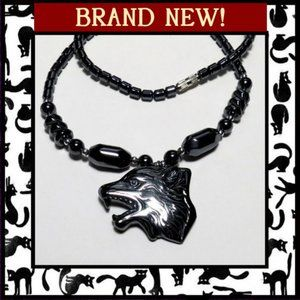 Jewelry - Unisex Wolf Necklace with Hematite Stone Beads